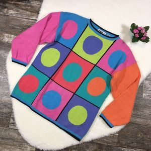 MY Rainbow Mod Colorblock Circle Sweater Vintage